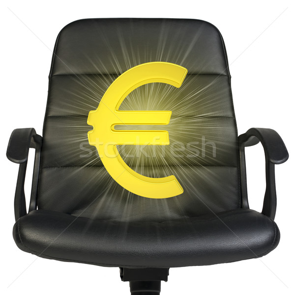 White euro sign stands in chair. Isolated on white background Stock photo © cherezoff
