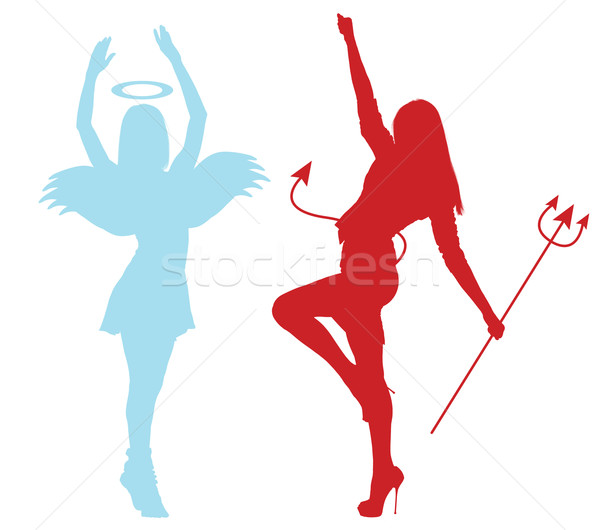 Silhouettes of an angel and demon froze in dance Stock photo © cherezoff