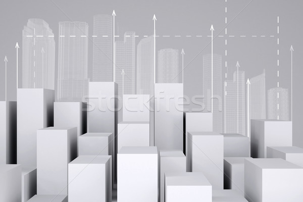 Stock photo: Minimalistic city of white cubes with wire-frame buildings and arrows up