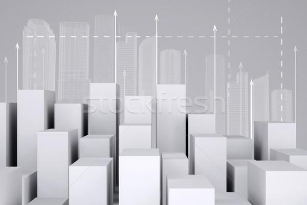 Minimalist şehir beyaz tel kafes binalar Stok fotoğraf © cherezoff