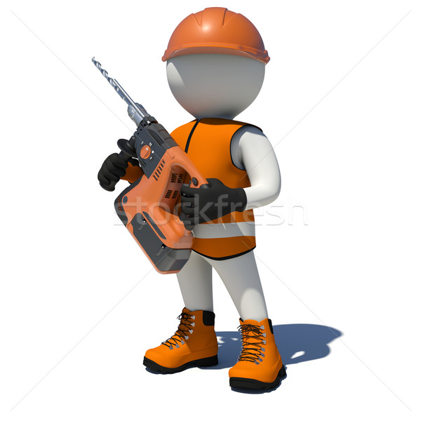 White man in vest, shoes and helmet holding electric perforator. Isolated Stock photo © cherezoff