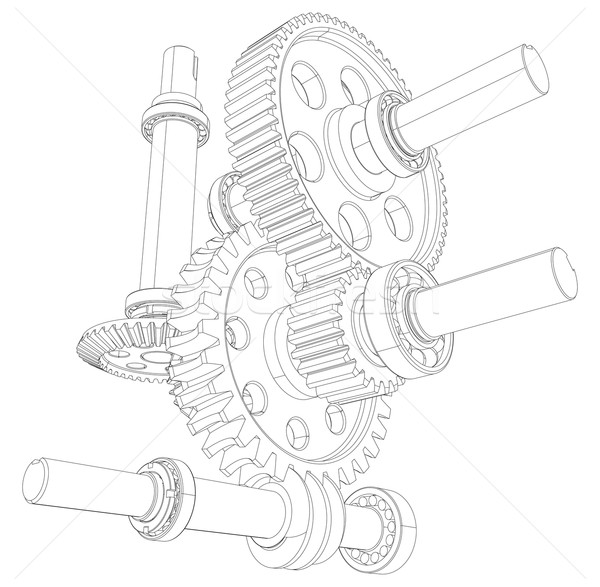 Reducer consisting of gears, bearings and shafts. Vector Stock photo © cherezoff