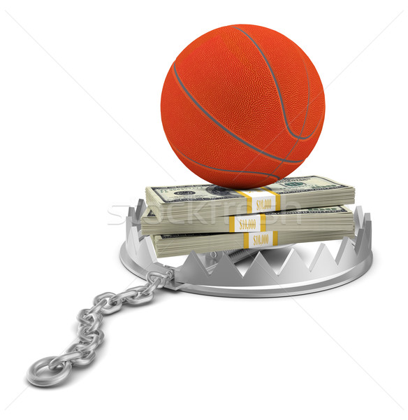 Basket soldi orso trappola isolato bianco Foto d'archivio © cherezoff