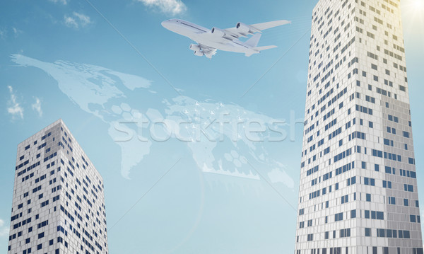 Two business centers with world map Stock photo © cherezoff