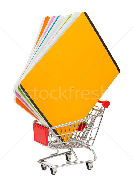 Bevásárlókocsi izolált fehér közelkép kilátás vásárlás Stock fotó © cherezoff