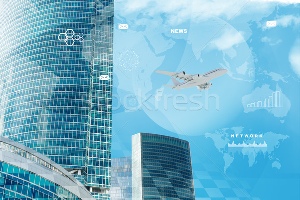 High-rise buildings with jet Stock photo © cherezoff