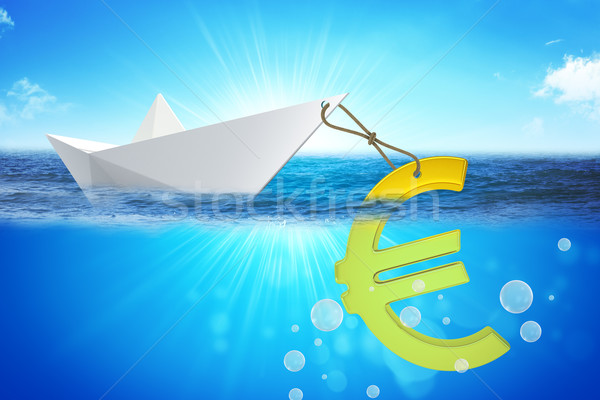 Paper boat with euro sign Stock photo © cherezoff