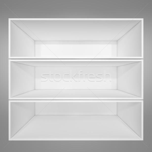 Vide blanche étagère à livres gris gradient 3d illustration Photo stock © cherezoff