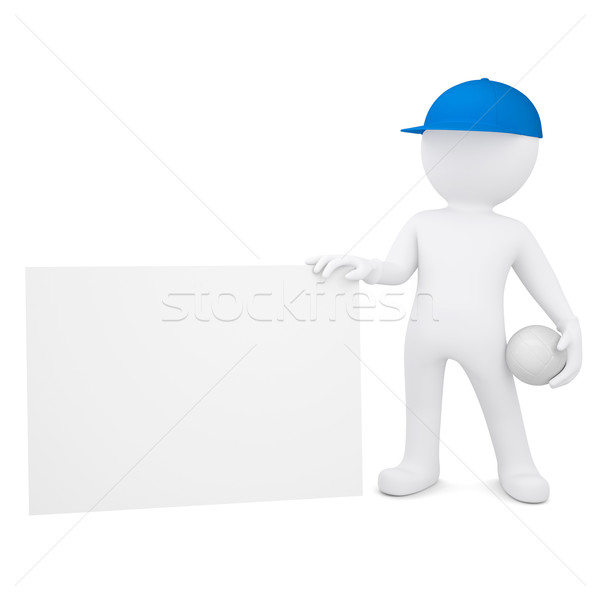 3d man with volleyball hold empty business card Stock photo © cherezoff