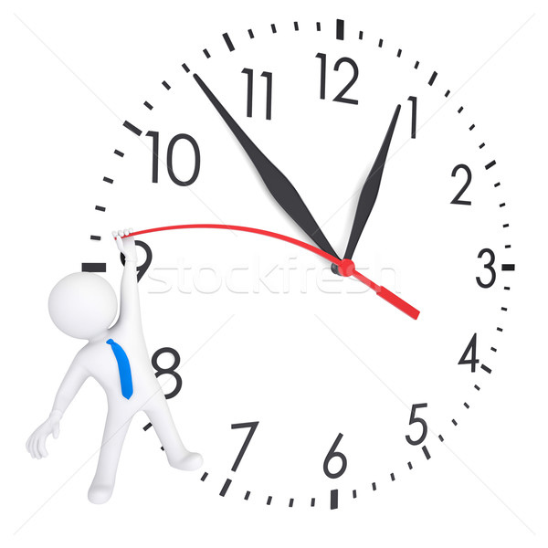 White 3d man hanging on second hand watches Stock photo © cherezoff