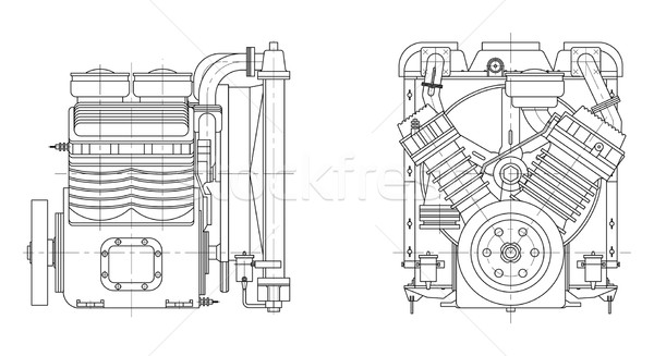 Sketch internal combustion engine Stock photo © cherezoff