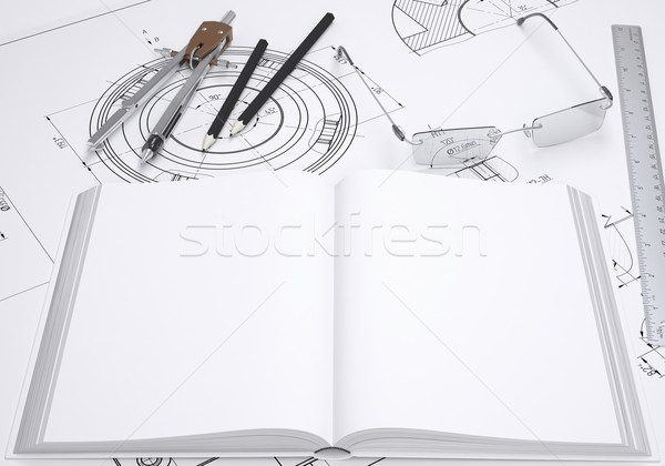 Book, glasses, ruler, compass and pencil Stock photo © cherezoff