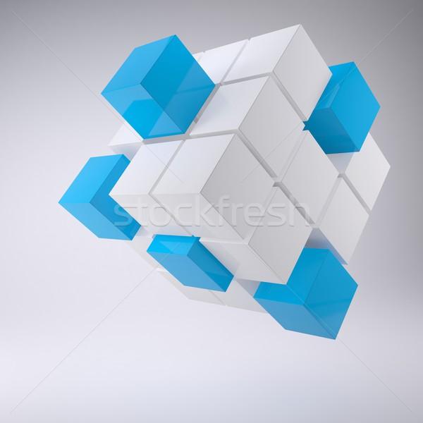 ストックフォト: 抽象的な · キューブ · アップ · ブロック · グレー · ビジネス