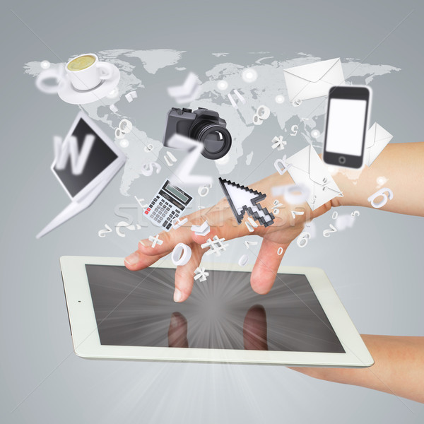 Hands holding tablet pc. Concept electronics Stock photo © cherezoff
