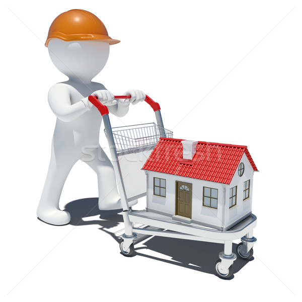 3d man in helmet on trolley carrying small house Stock photo © cherezoff