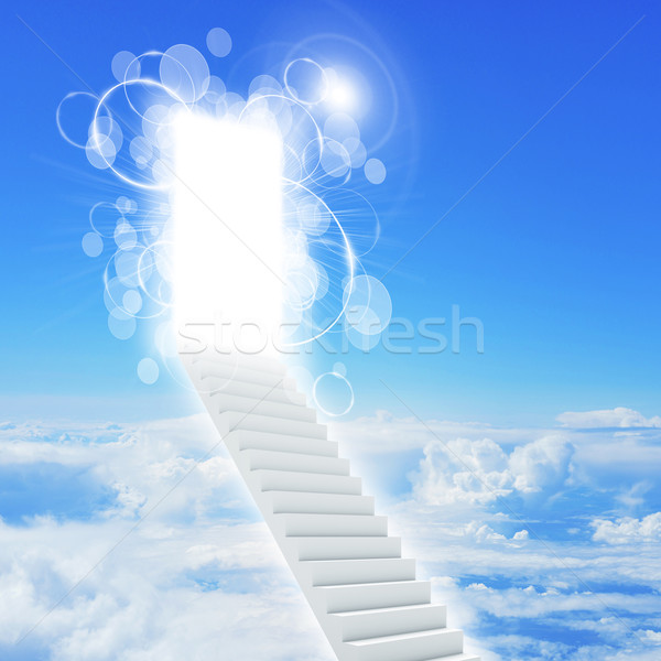 Stairs in sky with clouds and sun Stock photo © cherezoff