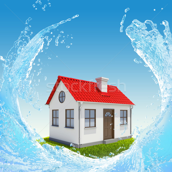 House, green meadow and water splash Stock photo © cherezoff