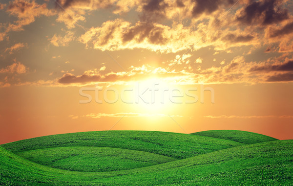 Geen hills at sunset Stock photo © cherezoff