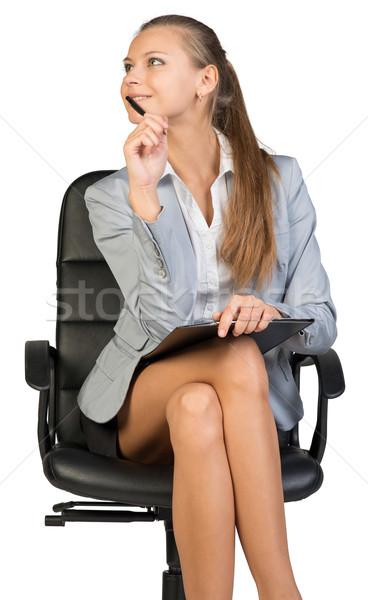 деловая женщина сидят офисные кресла буфер обмена пер подбородок Сток-фото © cherezoff