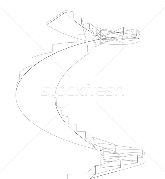 Wire-frame spiral stairs. Isolated Stock photo © cherezoff