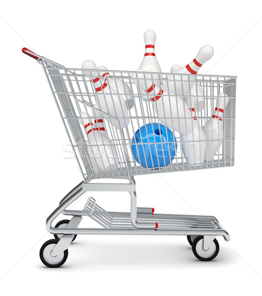 Skittle and bowling ball in shopping cart Stock photo © cherezoff