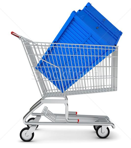 Envío contenedor cesta de la compra aislado blanco Foto stock © cherezoff