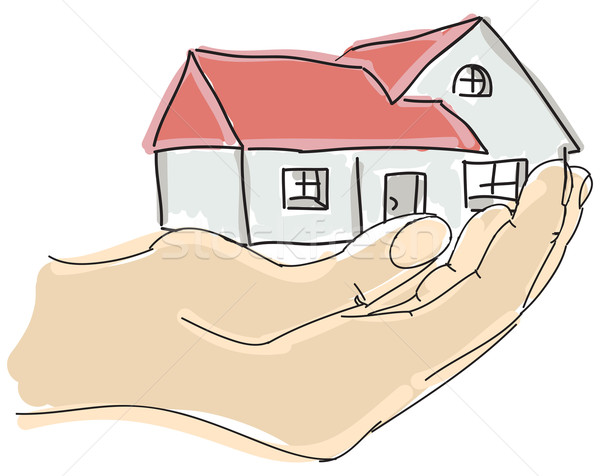 Drawn colored humans hand holding house Stock photo © cherezoff