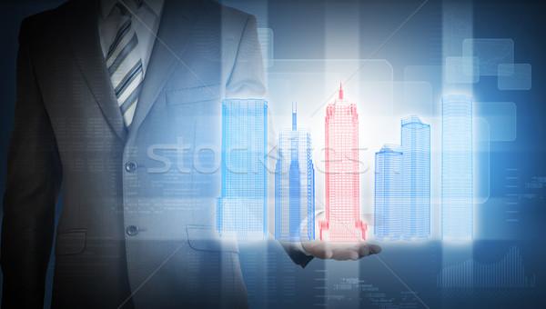 Biznesmen kolorowy 3D miasta model wykresy Zdjęcia stock © cherezoff