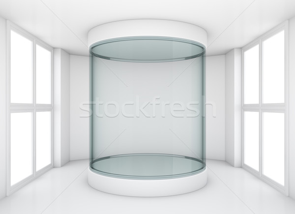Glass cylindrical showcase in gallery Stock photo © cherezoff