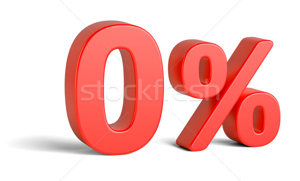 Red zero percent sign on white background Stock photo © cherezoff