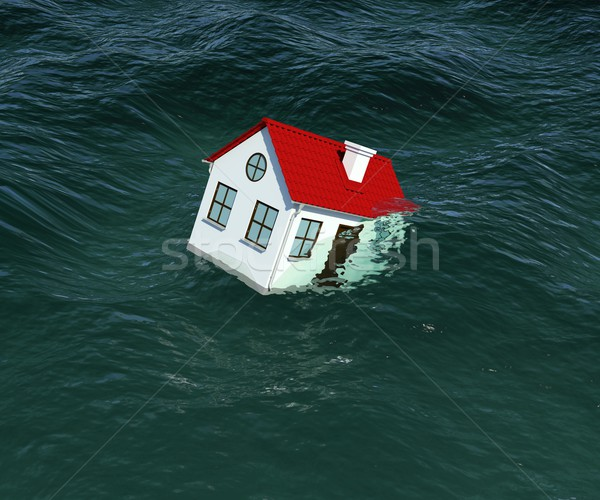 House with red roof sinks in water Stock photo © cherezoff