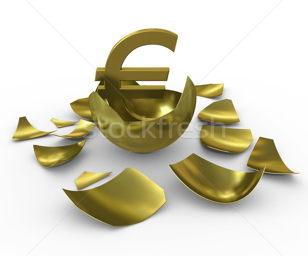 Gold euro sign hatched from eggs of gold Stock photo © cherezoff