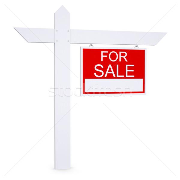 Ingatlan vásár felirat izolált render fehér Stock fotó © cherezoff