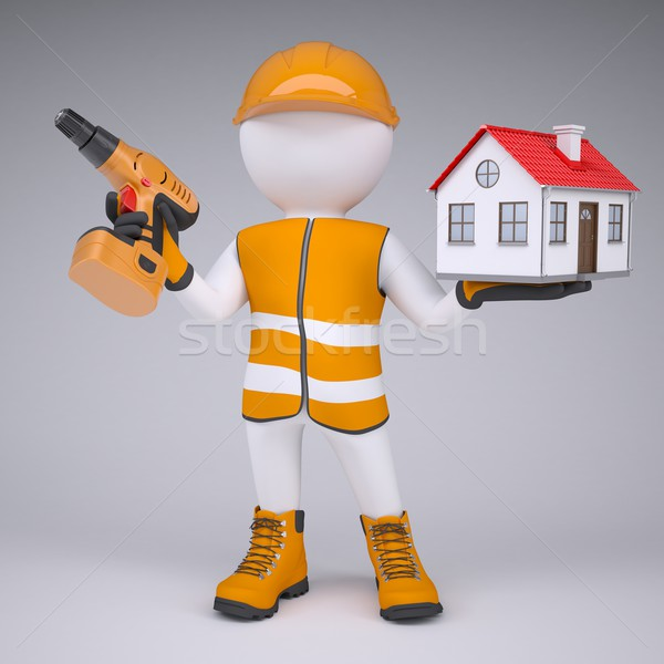 3d man in overalls with screwdriver and house Stock photo © cherezoff