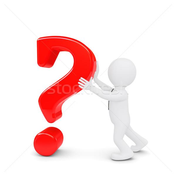 Biały człowiek znak zapytania odizolowany oddać biały streszczenie Zdjęcia stock © cherezoff