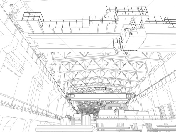 Foto stock: Guindaste · fábrica · ambiente · wireframe · vetor · eps10