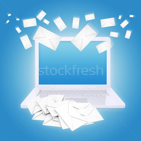 Many envelopes and laptop Stock photo © cherezoff