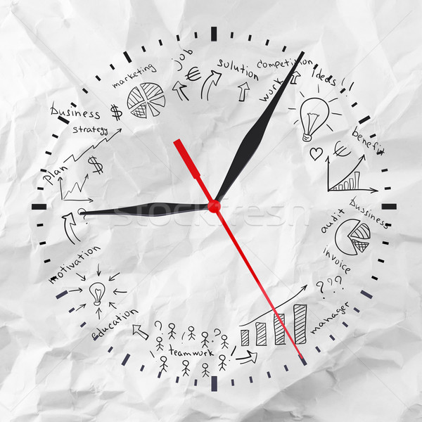Clock with business sketches Stock photo © cherezoff