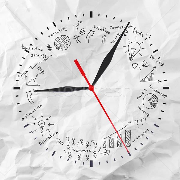 Reloj negocios imagen papel tecnología signo Foto stock © cherezoff