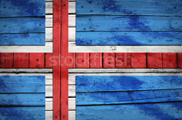 Icelandic flag painted on wooden boards Stock photo © cherezoff