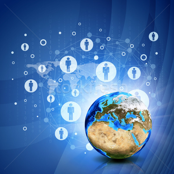 Network contacts and Earth. Hi-tech background Stock photo © cherezoff