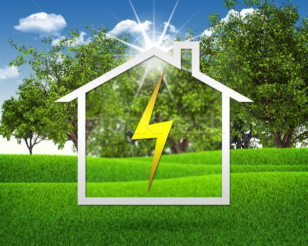 Símbolo eletricidade casa grama verde blue sky céu Foto stock © cherezoff