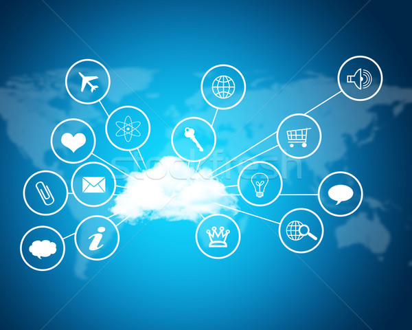 Cloud with computer icons. Technology concept Stock photo © cherezoff