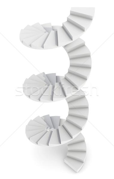 белый винтовая лестница изолированный оказывать дизайна фон Сток-фото © cherezoff
