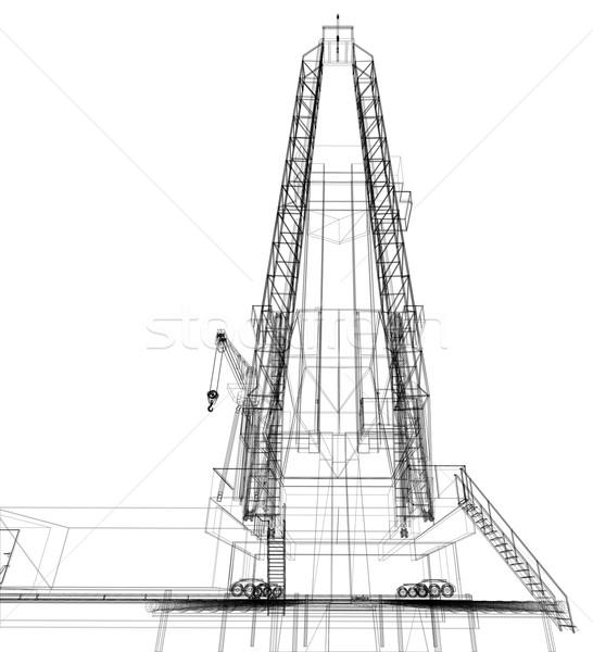Platforma wiertnicza szczegółowy odizolowany biały wektora Zdjęcia stock © cherezoff