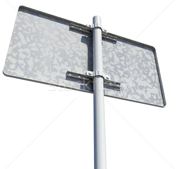 Rectangle panneau routier vue arrière isolé blanche route Photo stock © cherezoff