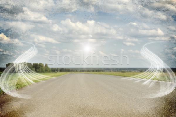 старые дороги зеленая трава области аннотация дым Сток-фото © cherezoff