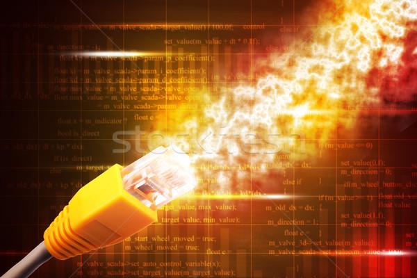 żółty kabel komputerowy streszczenie kolorowy numery Zdjęcia stock © cherezoff