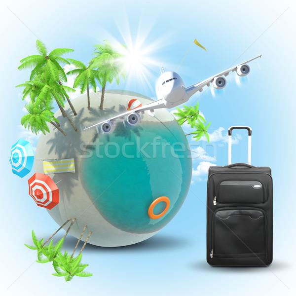 Jet земле багаж Flying небе воды Сток-фото © cherezoff