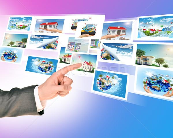 Ujj megérint holografikus képek absztrakt háttér Stock fotó © cherezoff